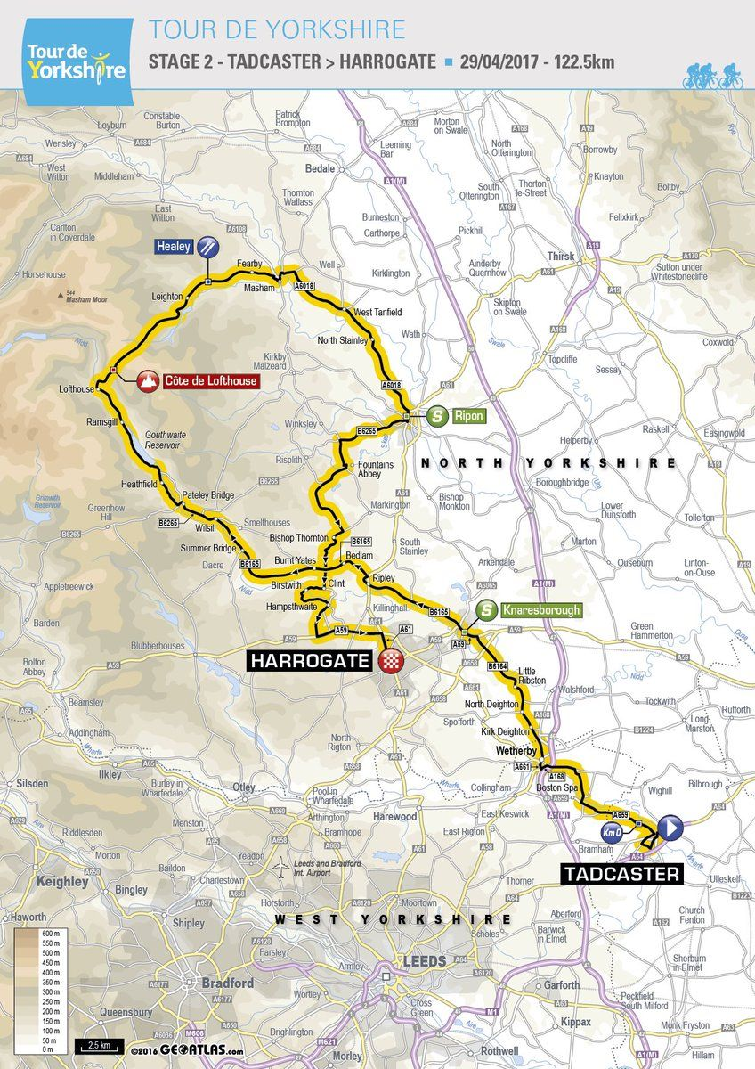 Tour de Yorkshire 2017 single stage Competitive cycling route