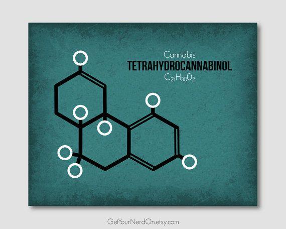Molecule Poster - THC (Cannabis) - Wall Art Print - Available as - fresh genetic blueprint band