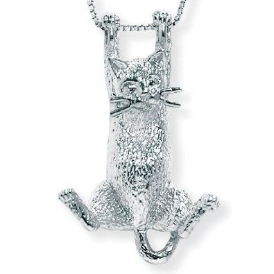 amazon com palmbeach jewelry sterling silver cat charm pendant and chain 18