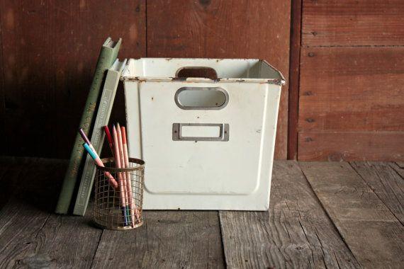 Vintage Locker Bin, Vintage Locker Basket, Locker Storage, Metal Locker Basket, Locker Box, Industrial Storage, Industrial Metal Box