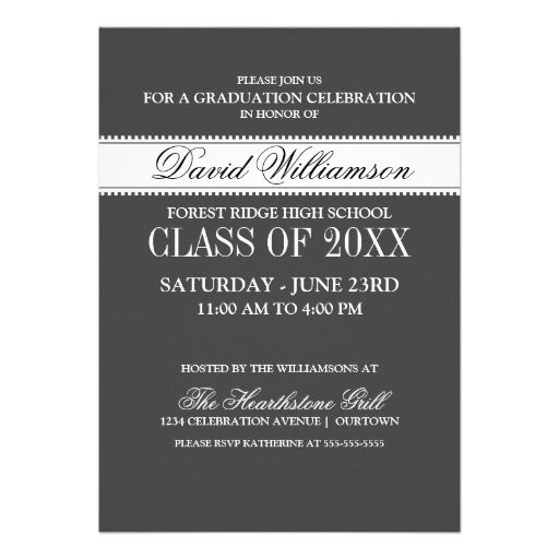 Black Classic Formal Graduation Announcements