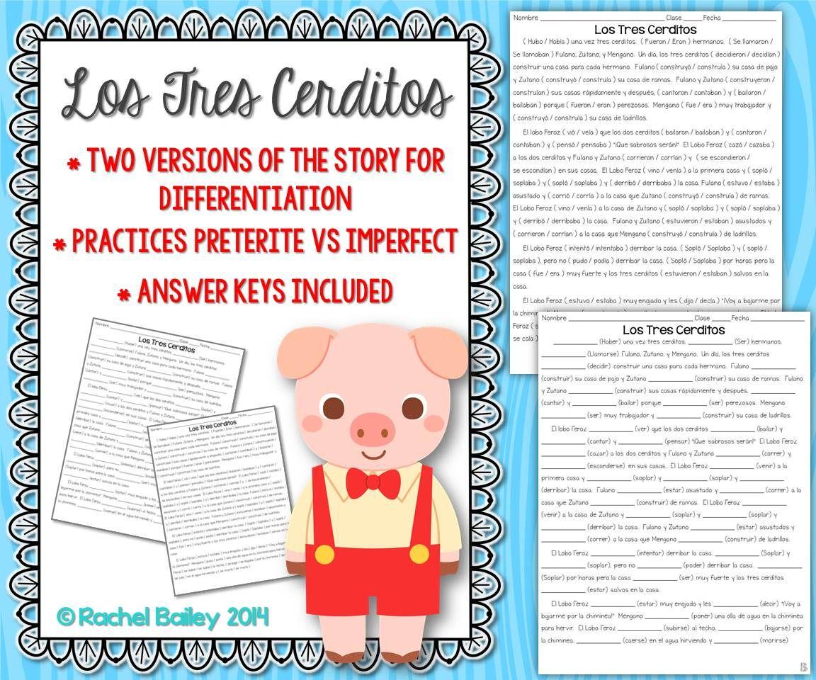 worksheet Regular Preterite Worksheet preterite vs imperfect story worksheet los tres cerditosthree little pigs