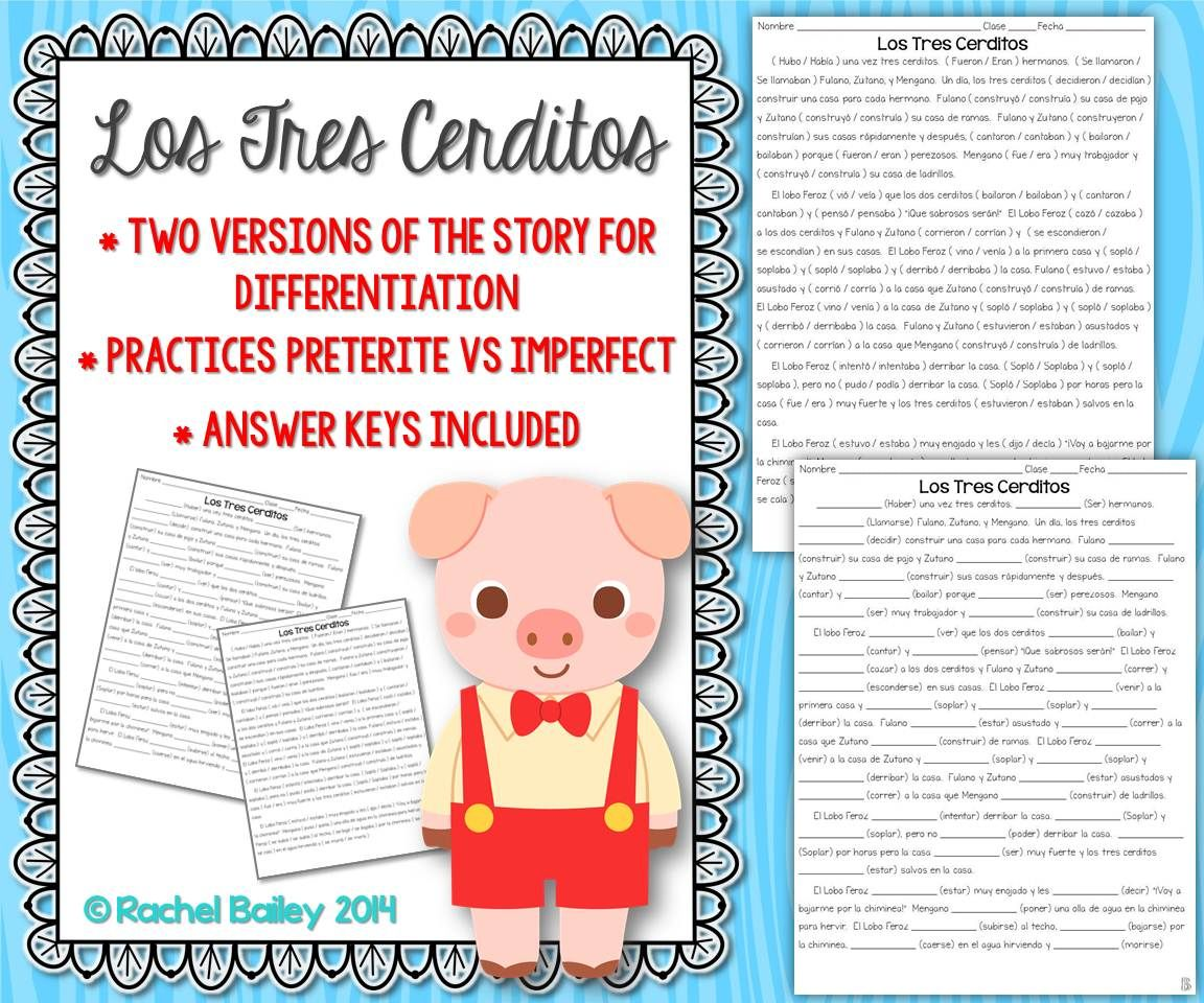 Preterite Vs Imperfect Story Worksheet Los Tres Cerditosthree
