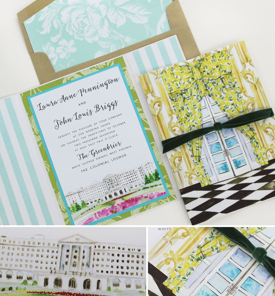 Laura P Hand Painted Greenbrier Wedding Invitations Watercolor