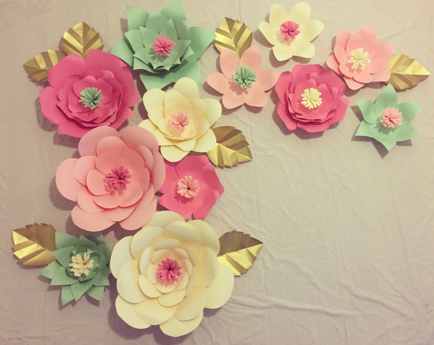 Large Paper Flowers , Babyshower Decorations , Gender Reveal ,Event decor , Home Decor ,Weddings , set of 12 flowers , customizable by PaperGardenUSA on Etsy https://www.etsy.com/listing/472082944/large-paper-flowers-babyshower