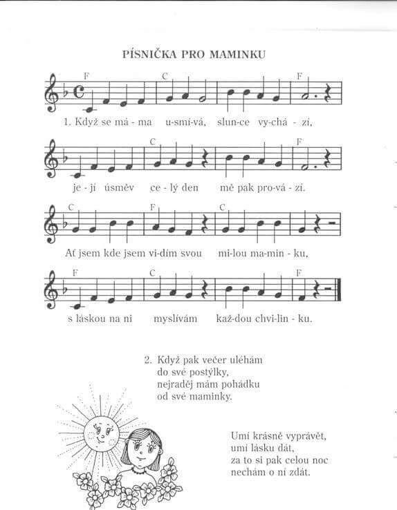 Písnička pro maminku | Noty | Pinterest | Songs