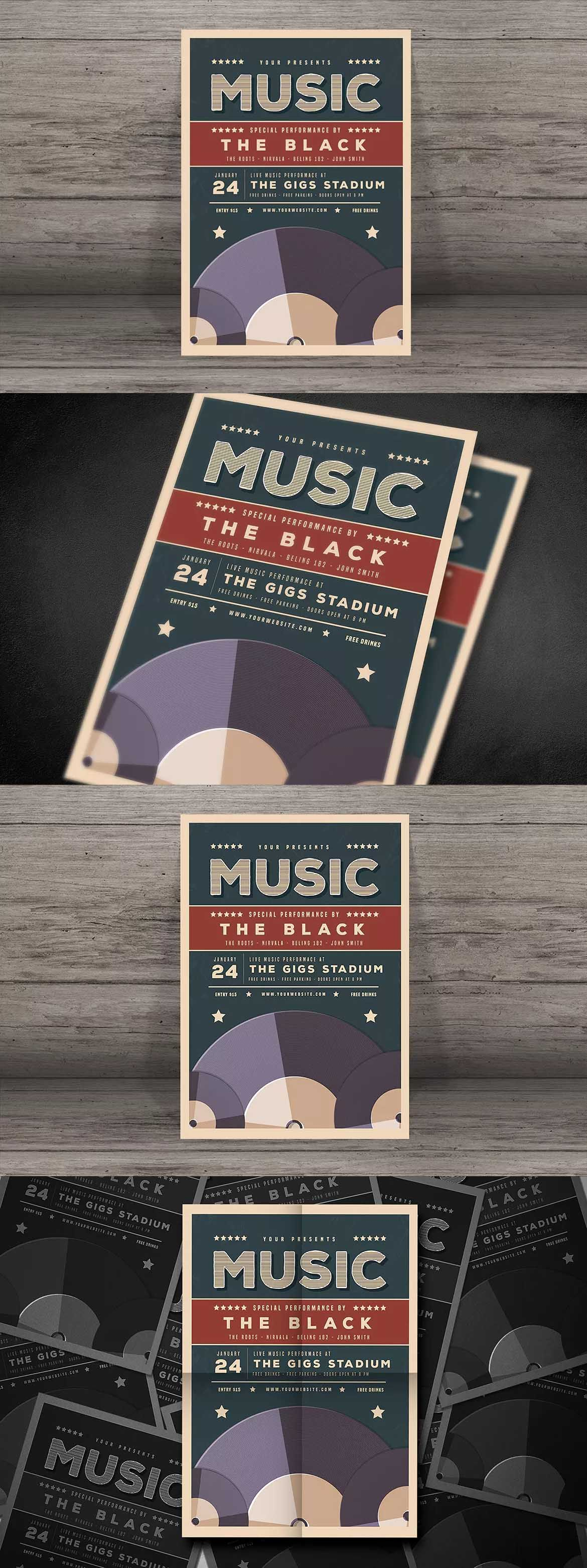 Old Vinyl Music Flyer Template Psd Ai  Flyer Design Templates