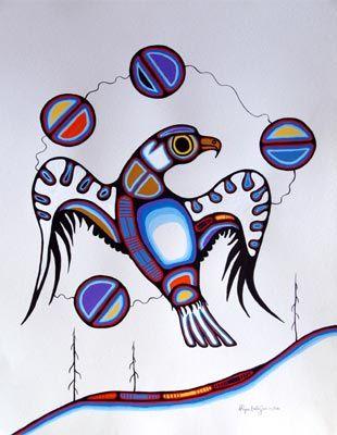 Eagle Spirit By Goyce Kakegamic Woodlands Art Original Red