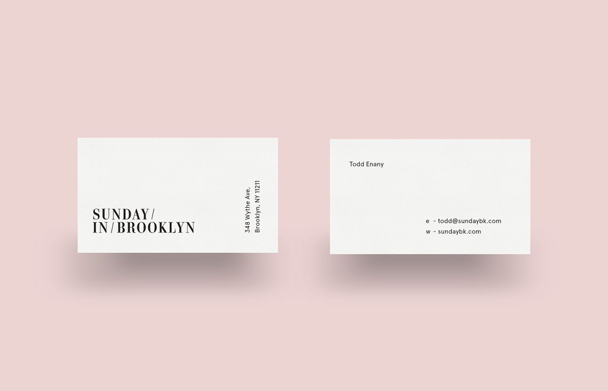 Sunday In Brooklyn On Behance 2 1 Branding Business Cards Logo