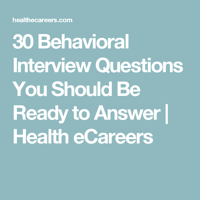 30 behavioral interview questions