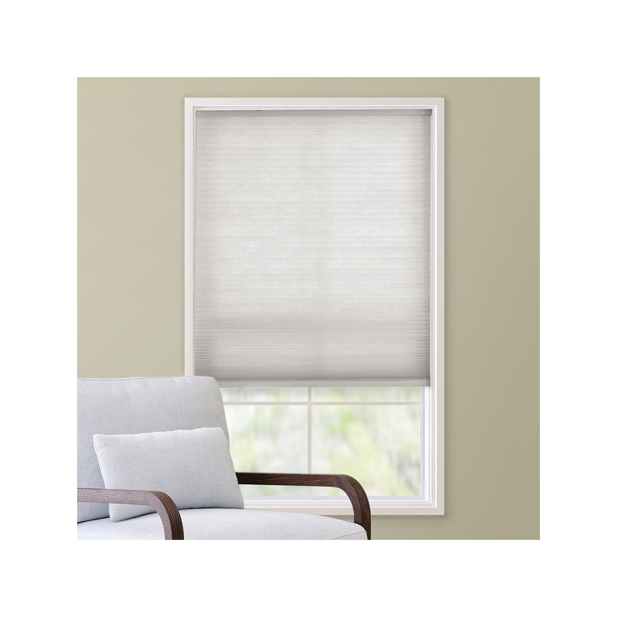 House window shade design  custom cut to order cordless cellular shade  uu length white