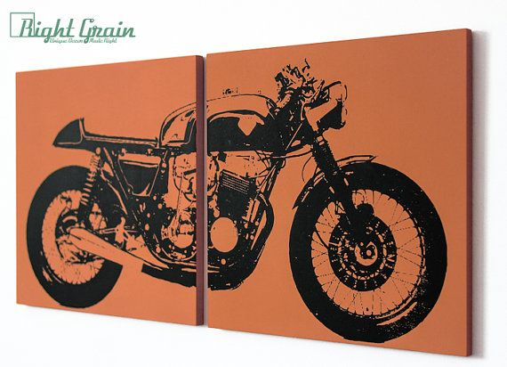Wall Art Cafe Racer Motorcycle Vintage Motorcycle Print In Custom Colors Motorcycle Wall Art Vintage Motorcycle Art Motorcycle Art