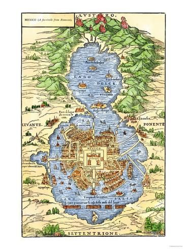 Tenochtitlan Capital City of Aztec Mexico an Island Connected by