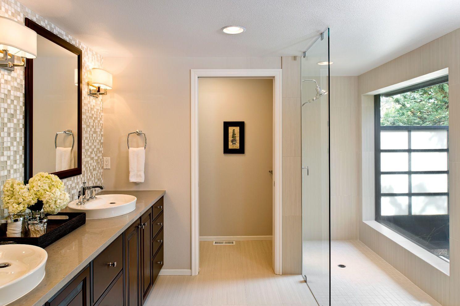 Bathroom Remodel With Mosaic Tile Back Splash By