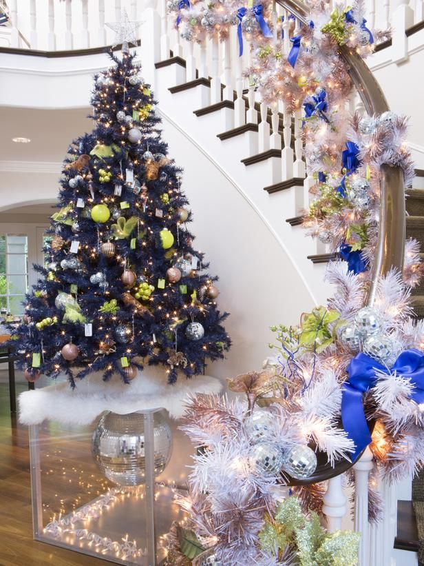 step into these celebrity home makeovers for the holidays on hgtv love the blue true with the disco ball underneith - Celebrities Christmas Decorated Homes