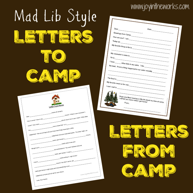 FillInTheBlank Letters To And From Camp  Camp Letters