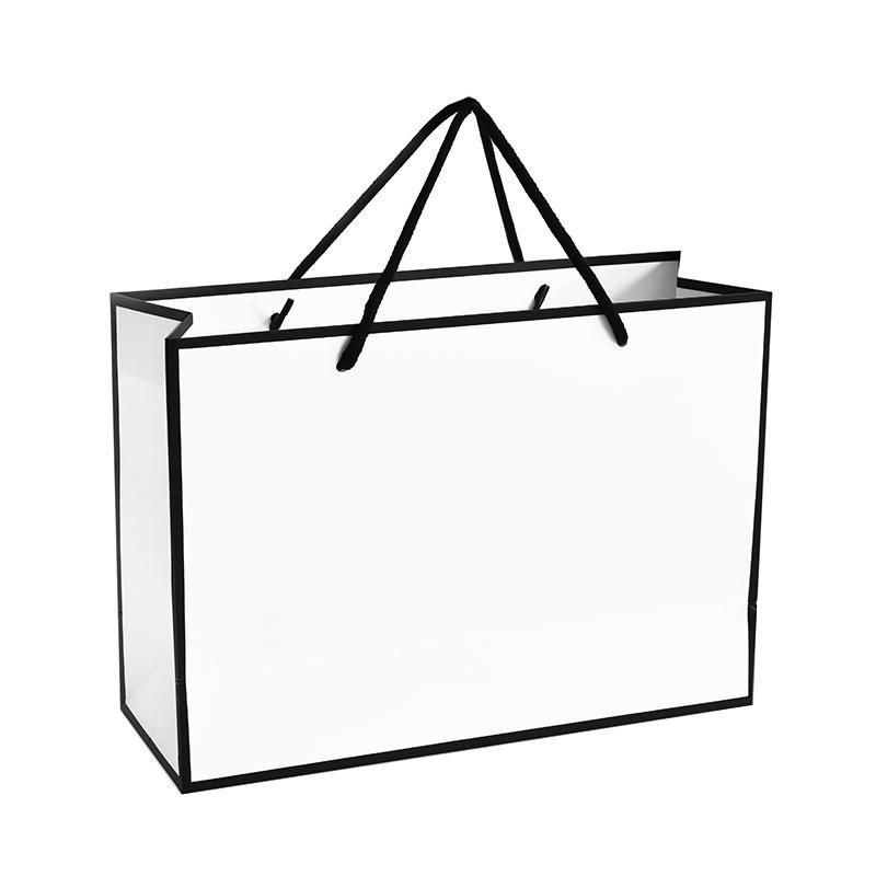 Large New Creative Design Black Border White Kraft Paper Bag With Handle Wedding Party Favor Paper Gi Shopping Bag Design Paper Bag Design Boutique Logo Design