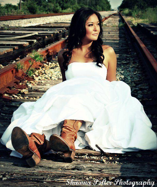 Cowboy Boots Under Wedding Dress