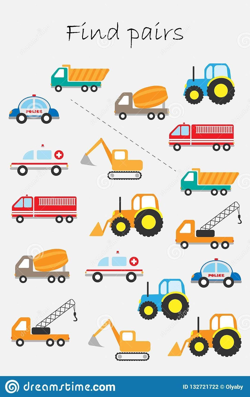 Transportation Worksheet For Preschool Find Pairs
