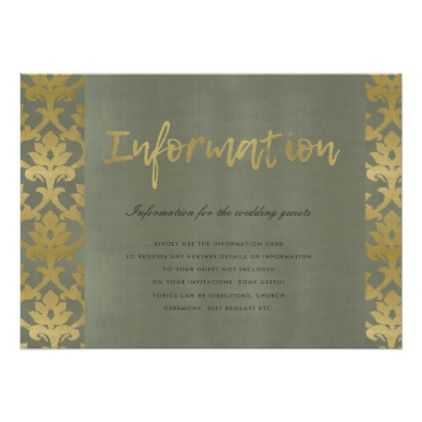 Classic gold damask floral pattern information card