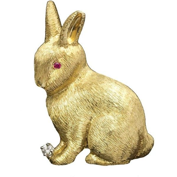 Rabbit Pin Ruby Eyes Diamond at Foot ($2,950) ❤ liked on Polyvore