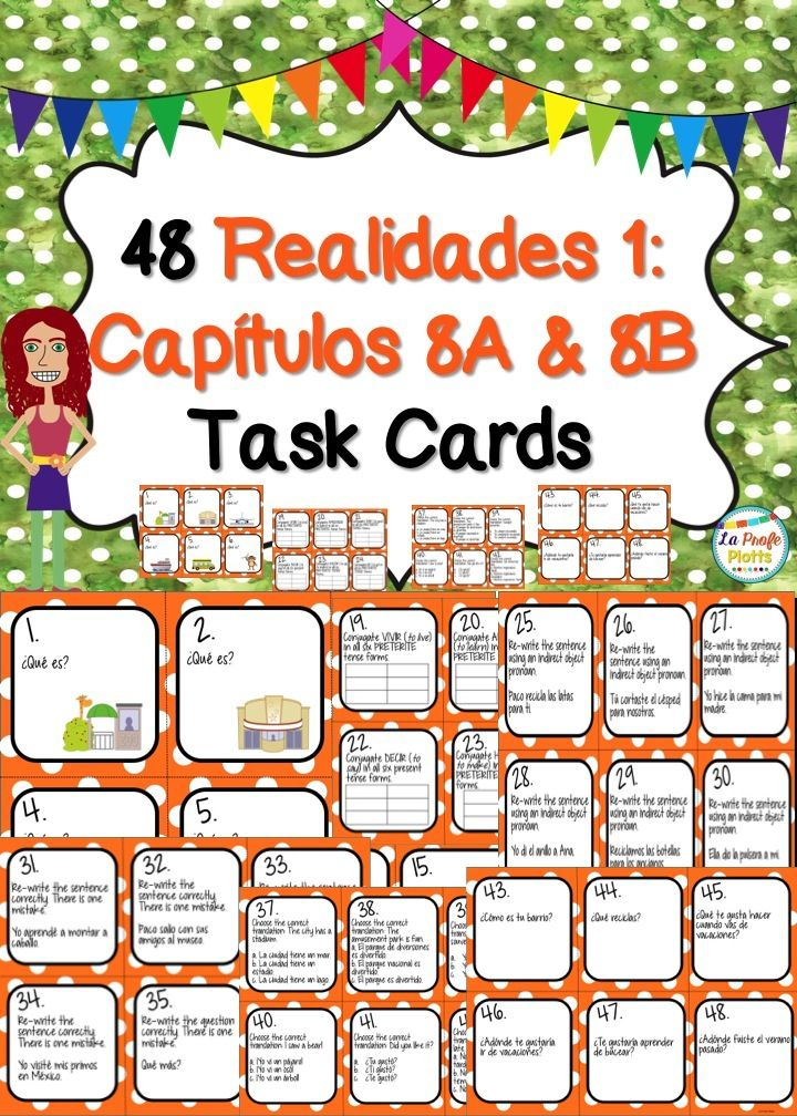 Printable Worksheets realidades 1 worksheets : Spanish Realidades 1: Capítulos 8A & 8B Task Cards | Textbook ...