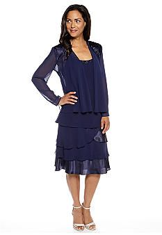 c0a4c1ae6b0 SL Fashions Tiered Chiffon Jacket Dress - Belk.com. Find this Pin and more  on mother of bride ...