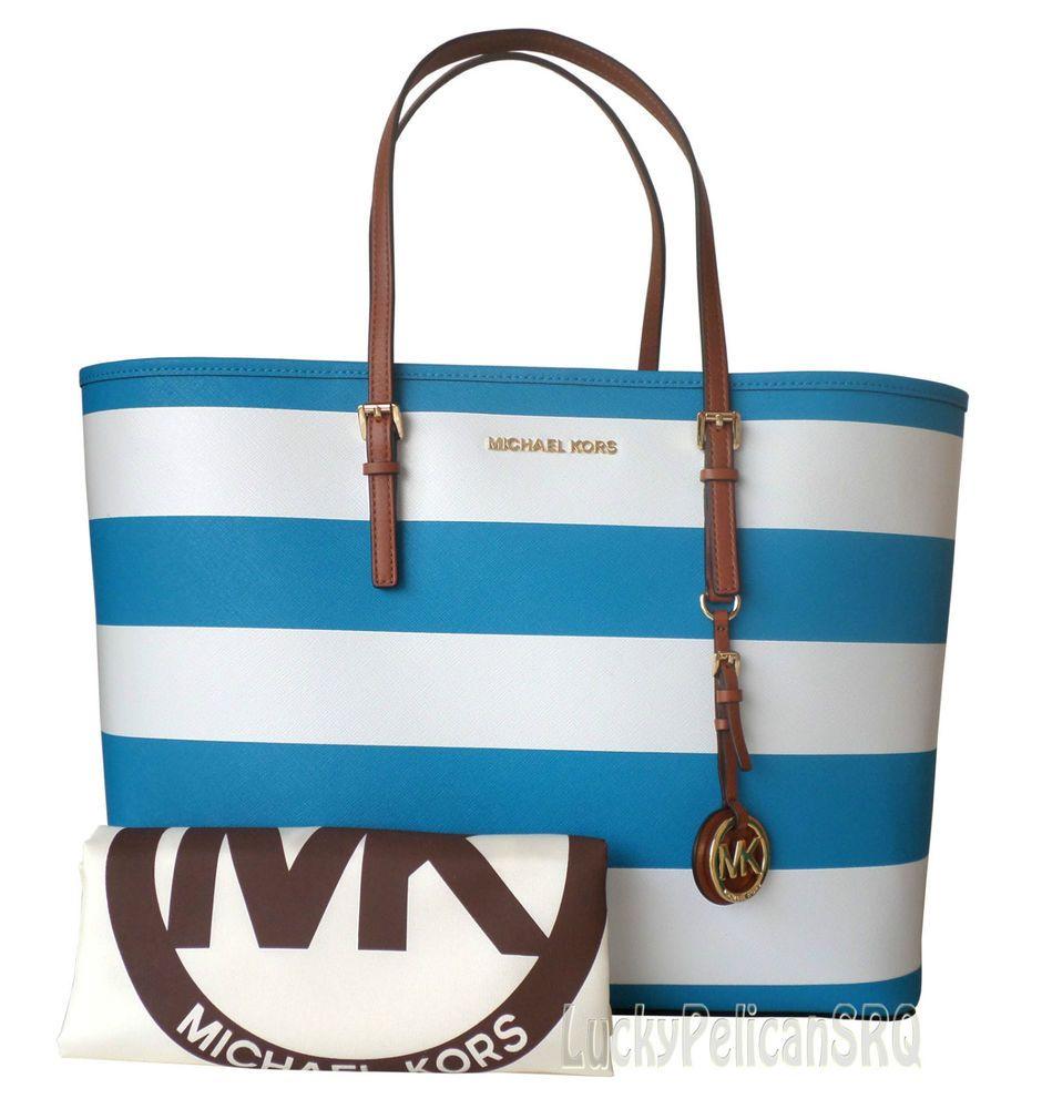 07e26c62a796a Michael Kors Jet Set Travel Blue White Saffiano STRIPE Medium Tote Bag NWT # MichaelKors #TotesShoppers