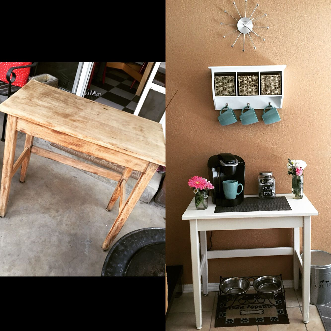 Old table repainted and turned into a coffee bar. Basket