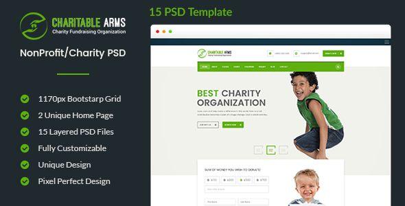 Charitable Arms - Nonprofit\/Charity Organization PSD Theme - ngo templates