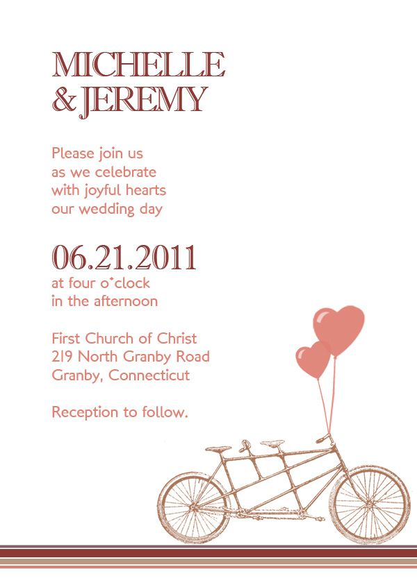 bicycle free printable wedding invitation template | printable, Wedding invitations