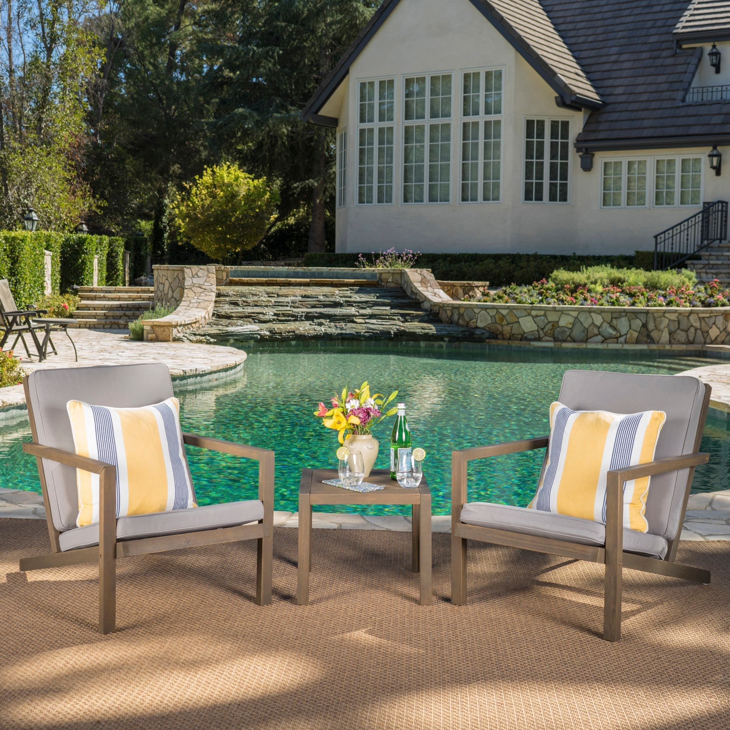 Leah Outdoor 3 piece Acacia Wood Chat Set with Cushions by