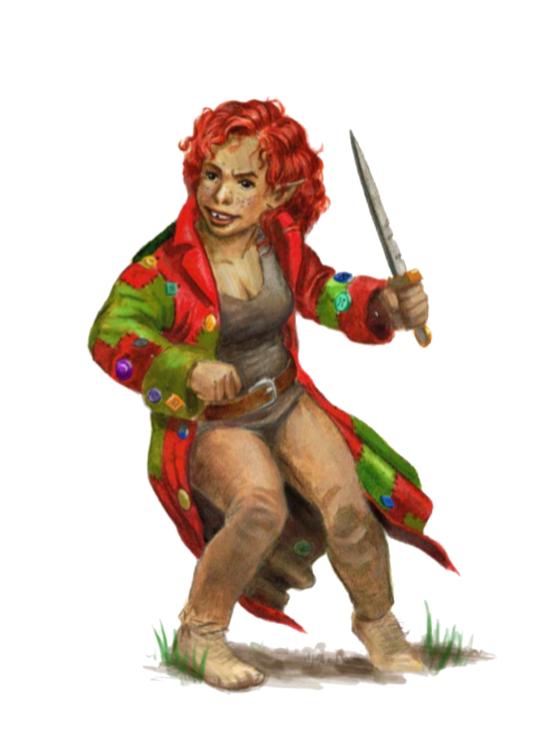 Chaldira Zuzaristan - Halfling demigoddess of battle, luck
