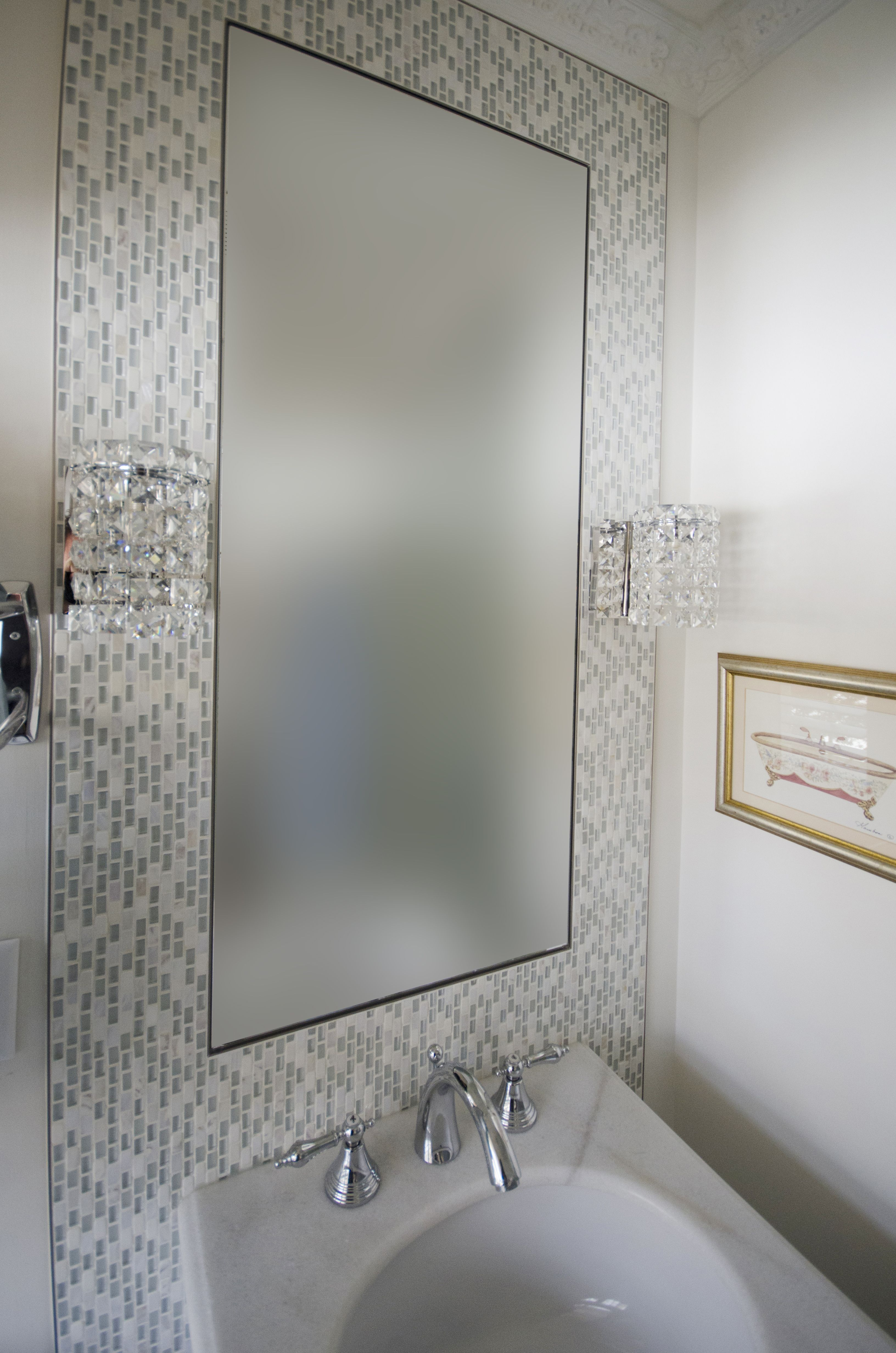 Vanity wall sconces installed on the mosaic mirror frame, great for ...