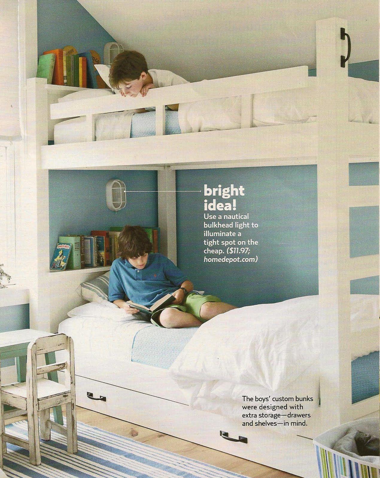 bunk beds  good idea for individual lighting  Baby bunks