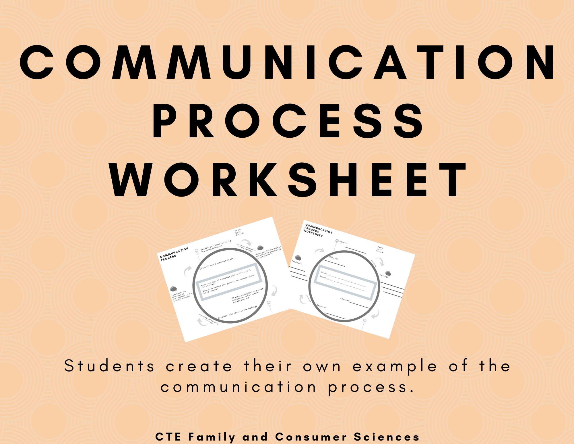 Communication Process Worksheet Speech Public Speaking