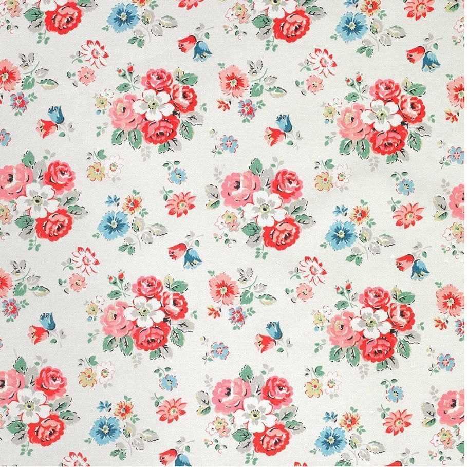 Cath Kidston Provence Rose Green Cotton Duck TELA FQ Craft 50 X 52 Cm