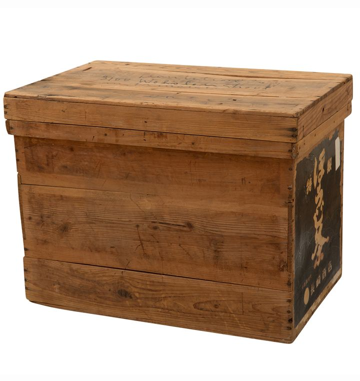 Tin Lined Japanese Tea Crate w Paper Label I