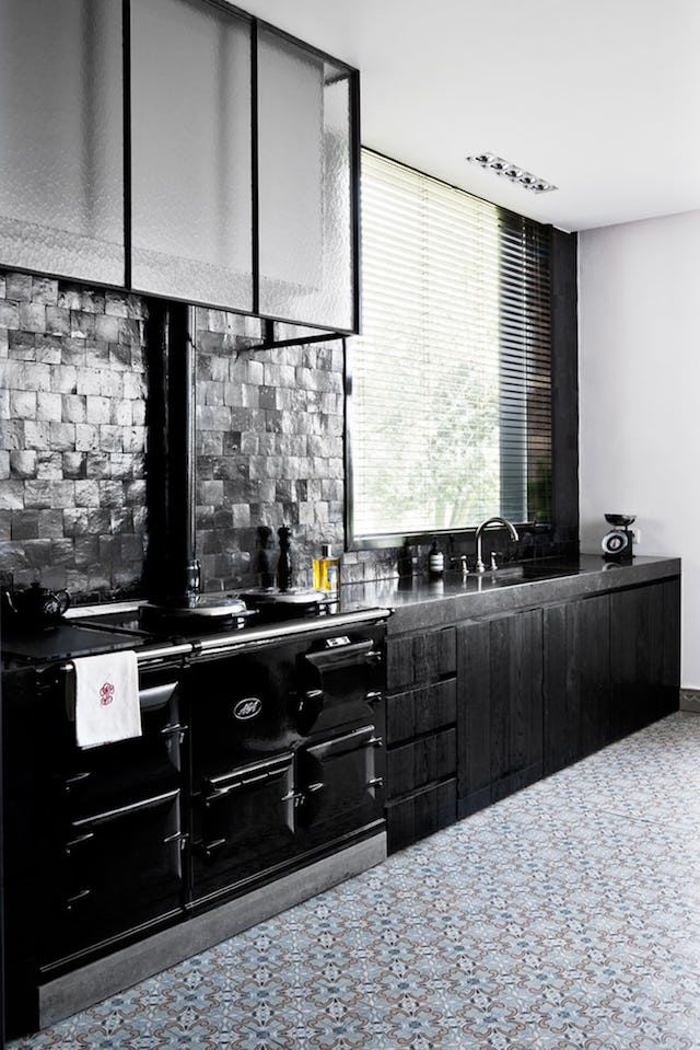 Ode to Black A home in Antwerp via French By Design Model - Awesome black and white tile floor kitchen Contemporary