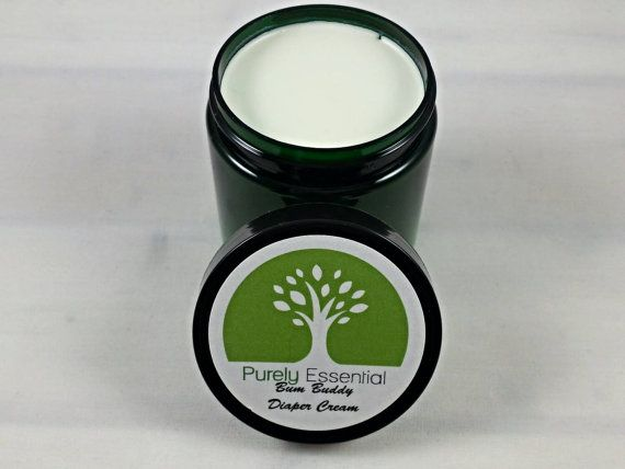 Organic diaper cream made with lavender and calendula infused coconut oil, shea butter, beeswax, non-nano zinc oxide, vitamin E, and Tea Tree Oil - #purelyessential #organic #allnatural #diapercream #diaperrash #babies #babyproducts #babyshower #giftidea #handmade #antifungal #antibacterial #nonnano #zincoxide