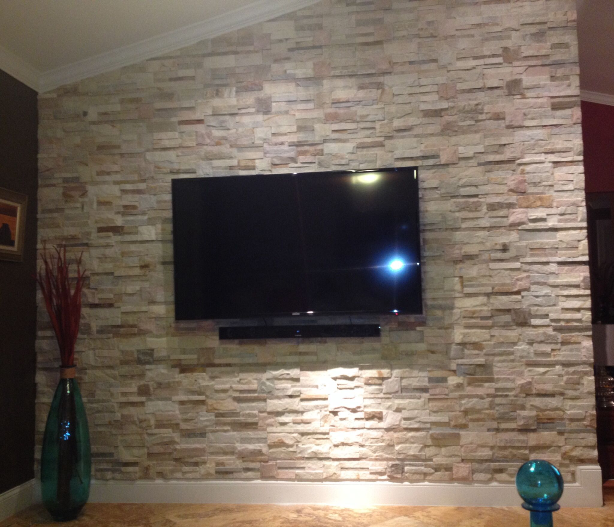 Stone Wall In Living Room Stone Walls Interior Faux