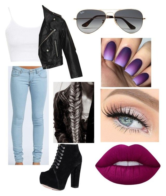 Leather Jacket by teagan825 on Polyvore featuring polyvore fashion style Topshop Nasty Gal Boohoo Ray-Ban Lime Crime clothing