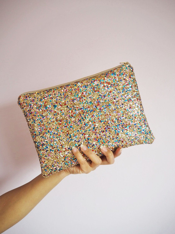 f999ee561f6 Multicoloured Gold Glitter Clutch Bag, Sparkly Rainbow Gold Evening Bag,  Sparkly Gold Wedding Bag, YKK Zip, Colourful Party Bag, by SukiSaburDesigns  on Etsy