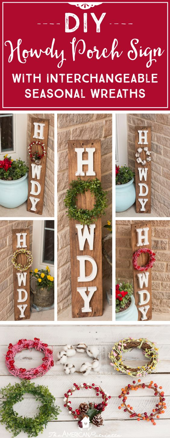 Porch signs welcome my porch barn wood quot what happens on the porch - Diy Howdy Front Porch Pallet Sign With Interchangeable Seasonal Wreaths