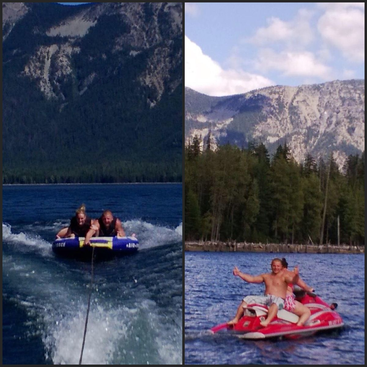 Love tubing and jet skiing!  Joel and IJoel and my stepmom