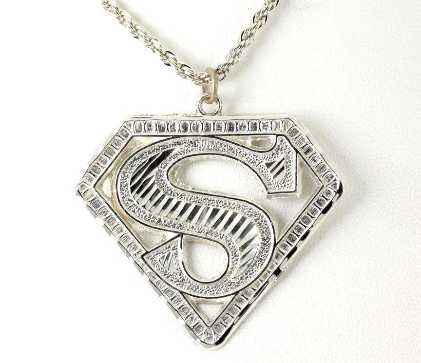 Vintage Sterling Silver Diamond Cut Superman S Symbol Emblem Pendant