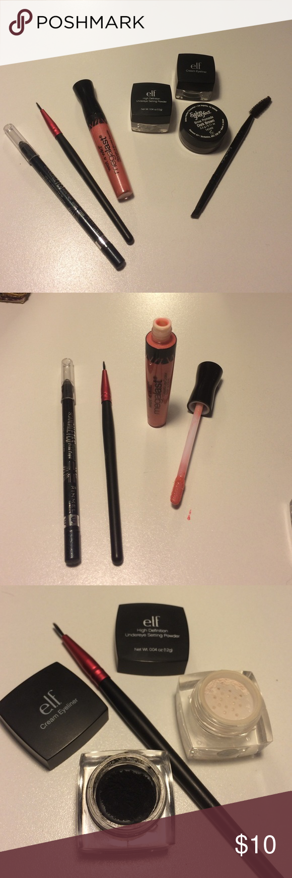 Makeup bundle!!!! INCLUDES - ✅elf black cream eyeliner. Used. ✅Eye liner brush. Not used. ✅Elf high definition under eye setting power. Not used. ✅Salon perfect brow pomade in dark brown. Used. With brow brush. Not used. ✅Wet n wild mega last liquid lip color in pink perfection. Not used. ✅Rimmel London scandal eyes water proof eyeliner in sparkling black. Makeup