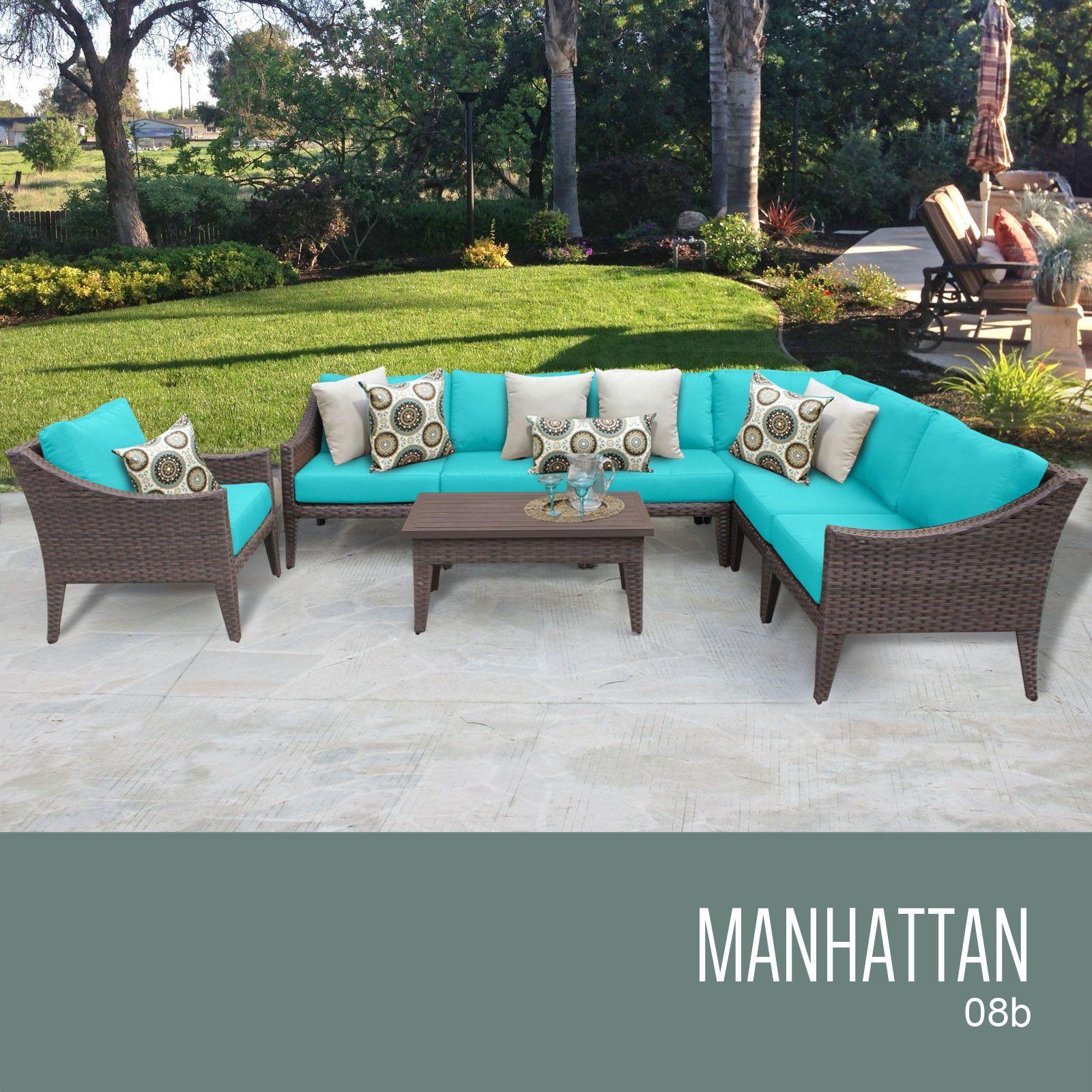TKC Manhattan 8 Piece Outdoor Wicker Furniture Conversation Set