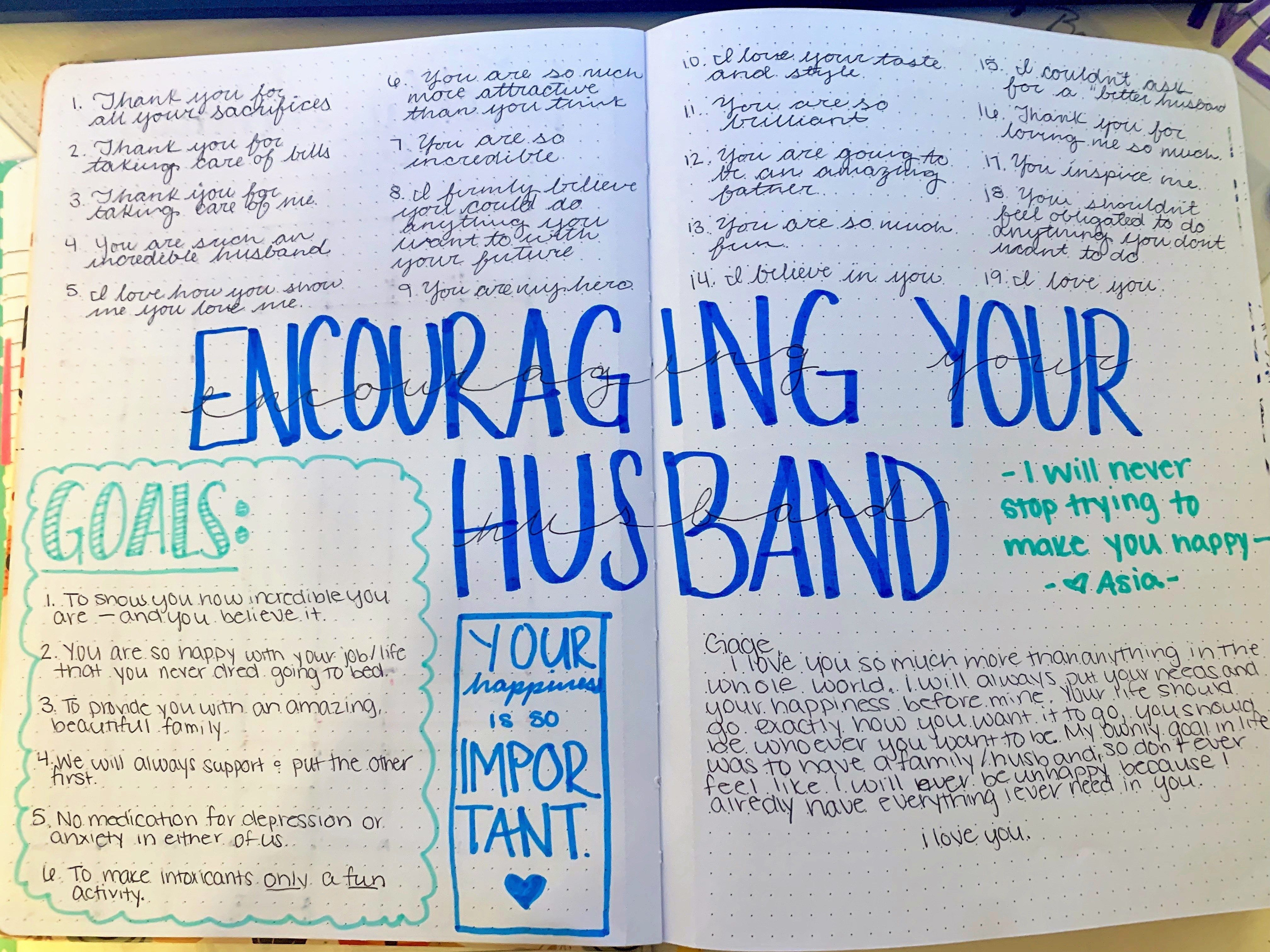 Encouraging your Spouse | Relationship journal, Bullet ...