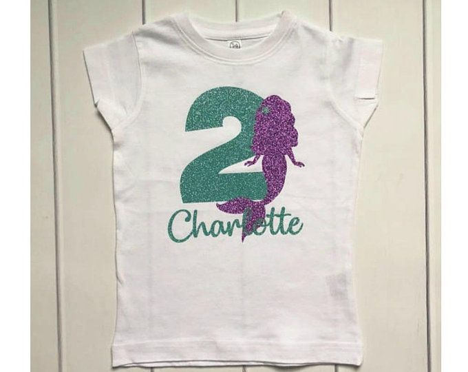 Personalized Mermaid Birthday Shirt For Girls Theme Top 2nd Party With Childs Name And Age